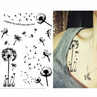 Dandelion - Fairy temporary tattoo - High quality body art stickers - Temporary tattoo in Black Ink - fake tattoo but looks real