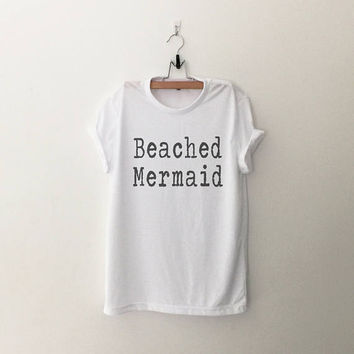 Beach mermaid t shirt t-shirt womens graphic tee vacation shirt spring break travel girls fashion slogan tshirts