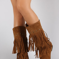 Suede Studded Layered Fringe Round Toe Knee High Boot