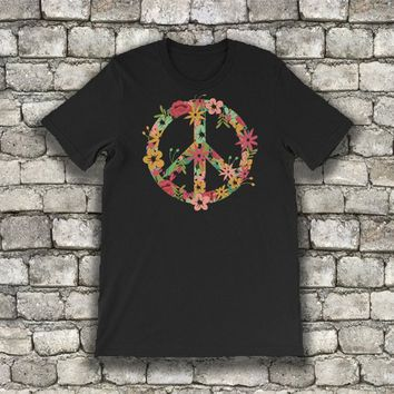 peace sign, peace, peace shirt, peace tshirt, floral tee, flowers tee, hippie, boho hippie top, hippie tee, hipster tee, hippie clothing