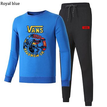 VANS 2018 autumn and winter new long-sleeved pullover casual beam pants plus velvet two-piece Royal blue