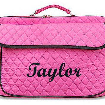 Monogrammed Laptop Case  Fuschia with Black Trim Personalized Laptop Case  Embroidery Monogram Laptop Bag