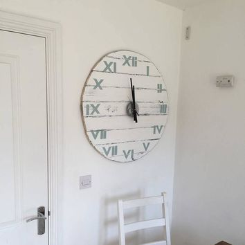 Clock Wall Large 77cm / 30.3 inch Diameter White with Duck Egg Roman Numerals