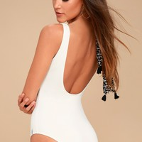 Sunchaser Cream Lace-Up One Piece Swimsuit