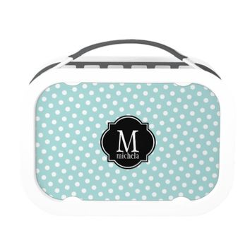 Tiffany Blue & White Polka Dot Pattern Lunch Boxes