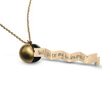 Bridesmaid Necklace Brass Ball Locket - Will you be my Bridesmaid - Secret Message, Love Letter or Photos