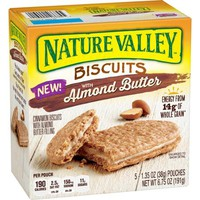 Nature Valley Biscuits with Almond Butter, 1.35 oz, 5 count - Walmart.com