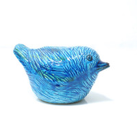 BITOSSI Rimini Blu Bird, Designed by Aldo Londi, Handcrafted Pottery, Made in Italy, Classic Midcentury Modern Italian Ceramics, Bird Lover