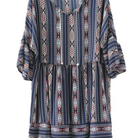 Navy Tribal Pattern Trumpet Sleeve Drawstring Waist Dress