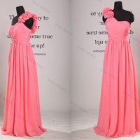 One Shoulder Sweetheart Chiffon Long Prom Dress//long evening dress//long bridesmaid dress//bridesmaid dress