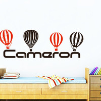 Name Wall Decals For Boys  Air Balloons Decal Kids Nursery Personalized Vinyl Stickers Home Bedroom Decor T148