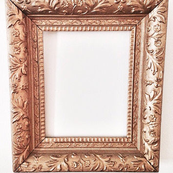 vintage gilded frame with floral design gold painted square carved wood frame