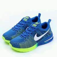 """NIKE"" Trending Fashion Air cushion of screen couple Casual Sports Shoes Blue-yellow"