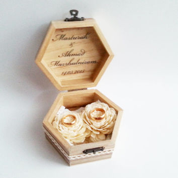 Wedding rings box, wedding pillow rustic cotton lace shabby chic brown cream lace sola flower big rings box customised