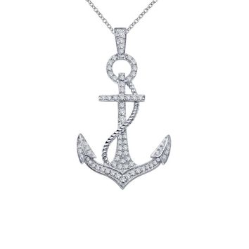 Lafonn Classic Sterling Silver Platinum Plated Lassire Simulated Diamond Necklace (0.5 CTTW)