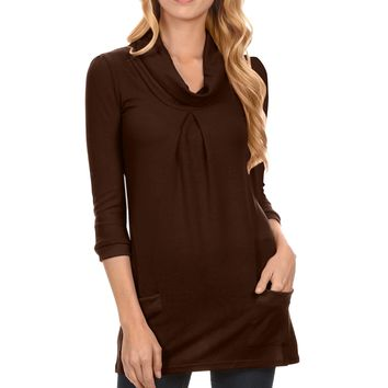 Cowl Neck Knit Sweater Tunic Dress