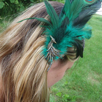 Bejeweled Phoenix and Green Feather Fascinator, Hair Clip or Hat Pin