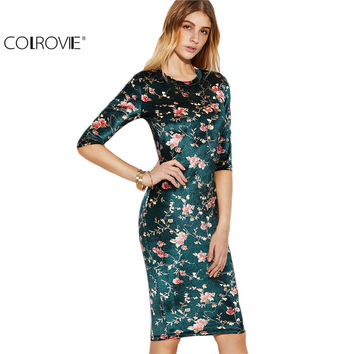COLROVIE Elegant Dress Korean Fashion Designer Brand Women Formal Dresses Dark Green Flower Print Silky Pencil Dress