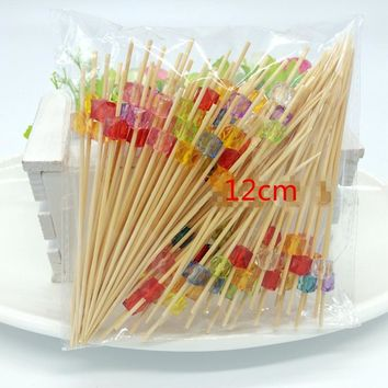 XUNZHE 100pcs An acrylic bead sign fruit fork Sticks Buffet Cupcake Toppers Cocktail forks Wedding Festival Decorations birthday