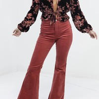 Around You Dusty Rose Corduroy High Waisted Flares