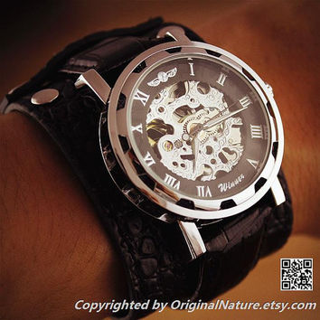 Mens Steampunk Leather Wrist Watch Groomsmen Gift, Anniversary Gift For Men (ET0081-SILVER)