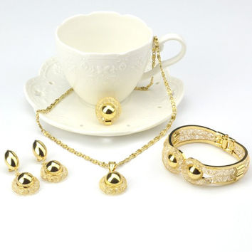 A Suit of  Gold Bead Cut Out Pendant Necklace Bracelet Ring Earrings