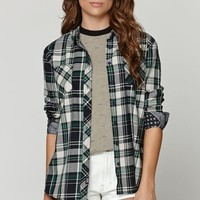 Young & Reckless Free Base Plaid Shirt - Womens Shirts - Green