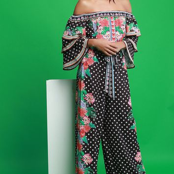 Polka Dot And Floral Print Tiered Ruffle Sleeves Palazzo Jumpsuit