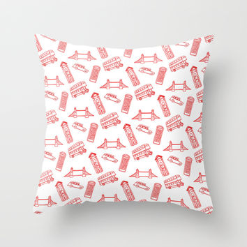 London - Red on White Throw Pillow by Alice Gosling | Society6