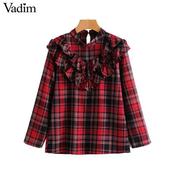 Vadim women sweet ruffled plaid shirts long sleeve stand collar blouse ladies spring vintage casual streetwear chic top LT2639