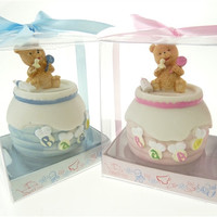 Baby Shower Party Favor - Teddy Bear Honey Jar Coin Bank, Light Pink