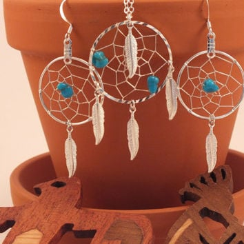 Sleeping Beauty Turquoise Native American Inspired Dreamcatcher Necklaceand Earring set, Native necklace. blue spiritual pendant