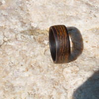 Mens wedding band, Unique mens ring, Wood ring rosewood ring, Flat ring