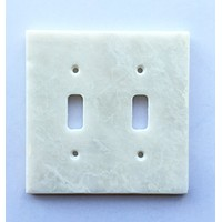 White Marble (Meram Blanc) Double Toggle Switch Wall Plate / Switch Plate / Cover - Polished