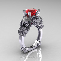 Love and Sorrow 14K White Gold 3.0 Ct Rubies Skull and Rose Solitaire Engagement Ring R713-14KWGR