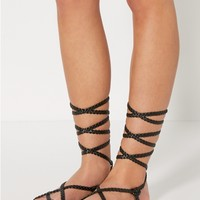 Black Braided Strappy Gladiator Sandal