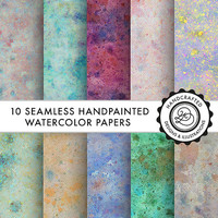 "Watercolor seamless digital papers, digital scrapbook paper pack (12x12""-300 dpi) -- Instant Download -- 10 Digital papers — Divena"