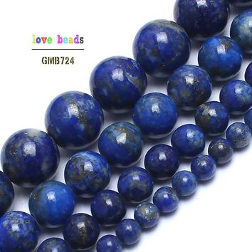 Natural Lapis Lazuli Stone Beads 100% not dyed Stone Beads For Jewelry Making 15inches 4/6/8/10mm Gem Stone Beads Diy Bracelet