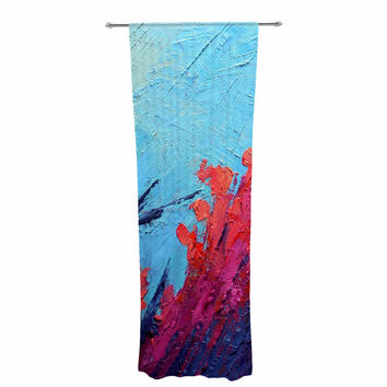 "Carol Schiff ""Coral Reef"" Coral Teal Painting Decorative Sheer Curtain"