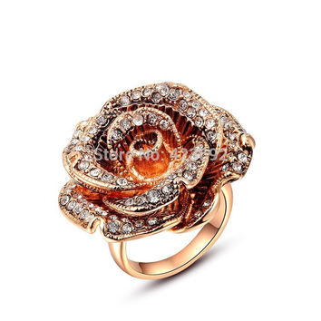 White 6 3.29 Sales Gift Beauty Cubic Zircon Factory Price White Stone Big Rose Rings Rose Gold Plating Fashion Jewelry Summer Style