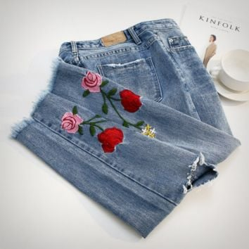 Fashion Jeans roses embroidered hole in nine minutes of pants cowboy tall waist trousers