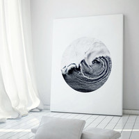 Bering Sea. Printable Scandinavian Art. Ocean in circle. Nordic Poster, Minimal Geometric artwork. Modern Geometric. Instant download