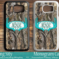 Monogram Galaxy S6 Edge S4 case S5 Aqua Antlers Tree Camo Teal Deer Personalized Samsung S3 Note 2 3 4 Custom Tough Cover Country Girl