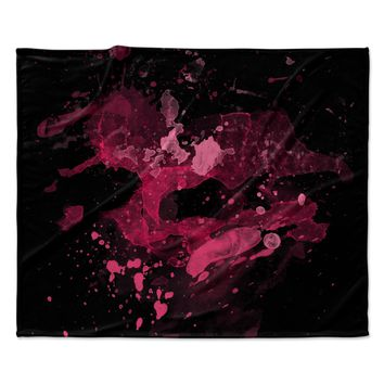 "Rosa Picnic ""Splatter-1"" Black Pink Abstract Contemporary Painting Watercolor Fleece Throw Blanket"