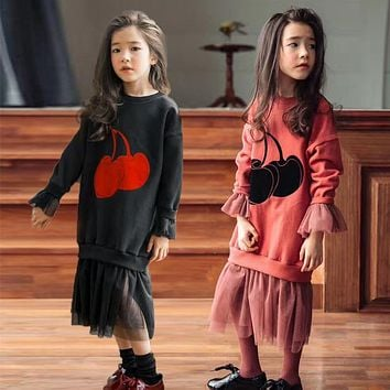 baby teenage girls long sleeve dresses autumn winter red black maxi long sweatshirts hoodies dress big girl clothing with mesh