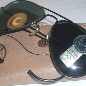 58 14MM MED VINTAGE B&L RAY-BAN G15 BLACK WRAP-AROUNDS AVIATOR SUNGLASSES NEW