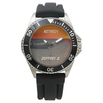 Retired! Wrist Watch Fishing Boat, Black Strap