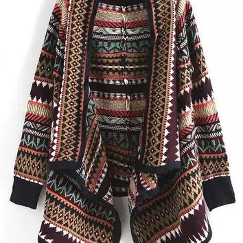 Multicolor Geometric Print Turndown Collar Fashion Cardigan Sweater