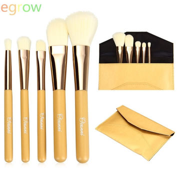 5pcs Cosmetic Makeup Brushes Set Powder Foundation Contour Eyeshadow Blending Brush Kit (Color: Yellow) = 1841378436
