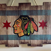 Chicago Blackhawks Wooden Stained Flag; Hand Painted; Hockey Decor; Man Cave; Wood Wall Art; Sign; NHL; Rustic Distressed; Sports Collectabl
